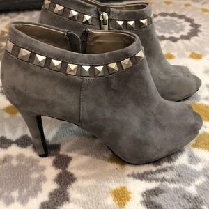 Grey, suede, open toe booties with studs
